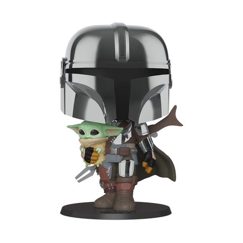 "Pop! Star Wars - 10"" Chrome Mandalorian w/The Child"