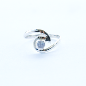 Silver Wave Ring with Stone