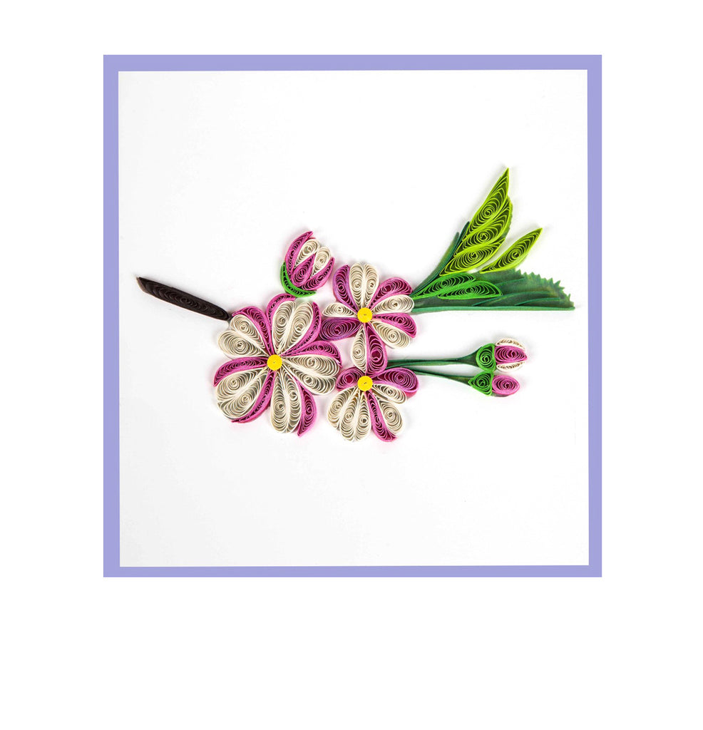 Miniwings Handmade Pink Flower Greeting Card