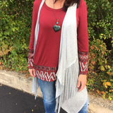Urban Style Asymeterical Grey Fringed Vest/Cardigan - TheBrownEyedGirl Boutique