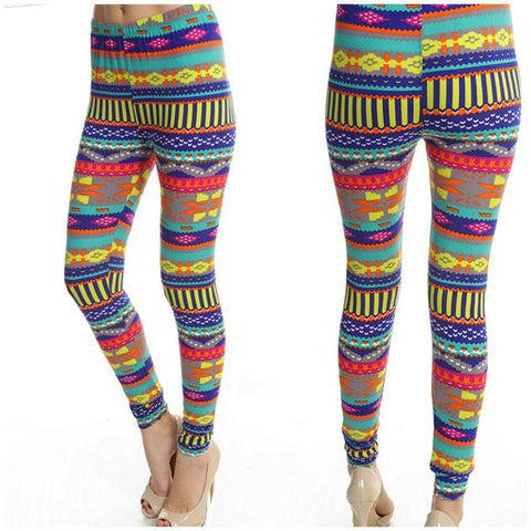 Multi Colored Tribal Print Leggings Soft Stretchy  One Size