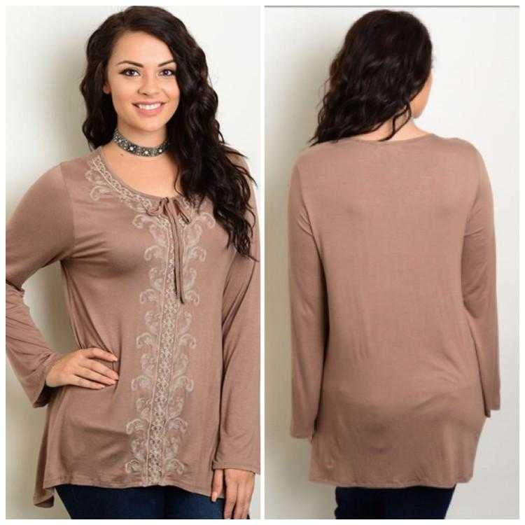 Solid Light Mocha Bohemian Styled Tunic with Embroidered accents