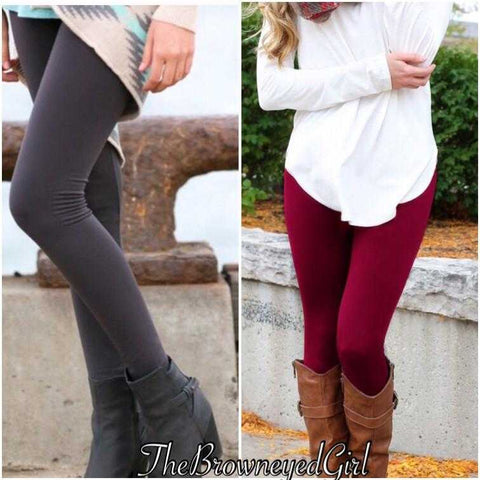 High waisted  Tummy Control Fleece Lined Leggings Regular - TheBrownEyedGirl Boutique