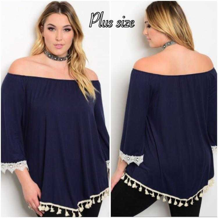 Navy & Ivory off the shoulder Tunic Plus - TheBrownEyedGirl Boutique