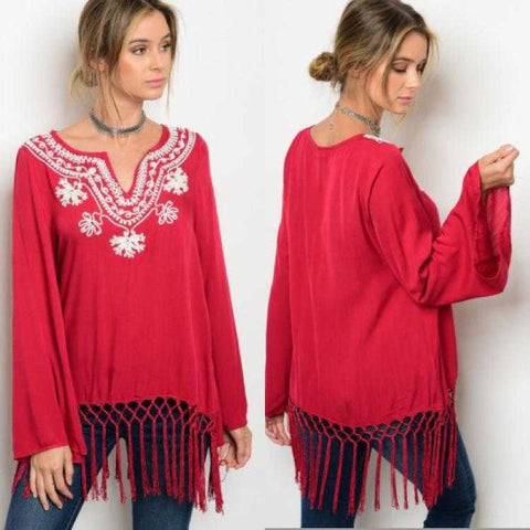 Bohemian embroidered red blouse with tassel trim Entro
