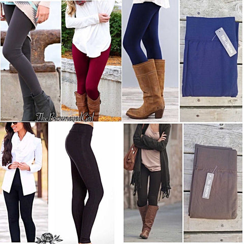 High Waisted Tummy Control Solid Fleece Lined Plus Leggings - TheBrownEyedGirl Boutique