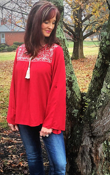Entro Holiday Red Embroidered Top - TheBrownEyedGirl Boutique