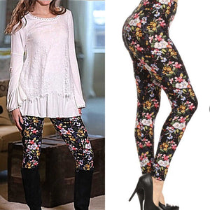 Spring Floral Print Brushed Leggings Regular - TheBrownEyedGirl Boutique