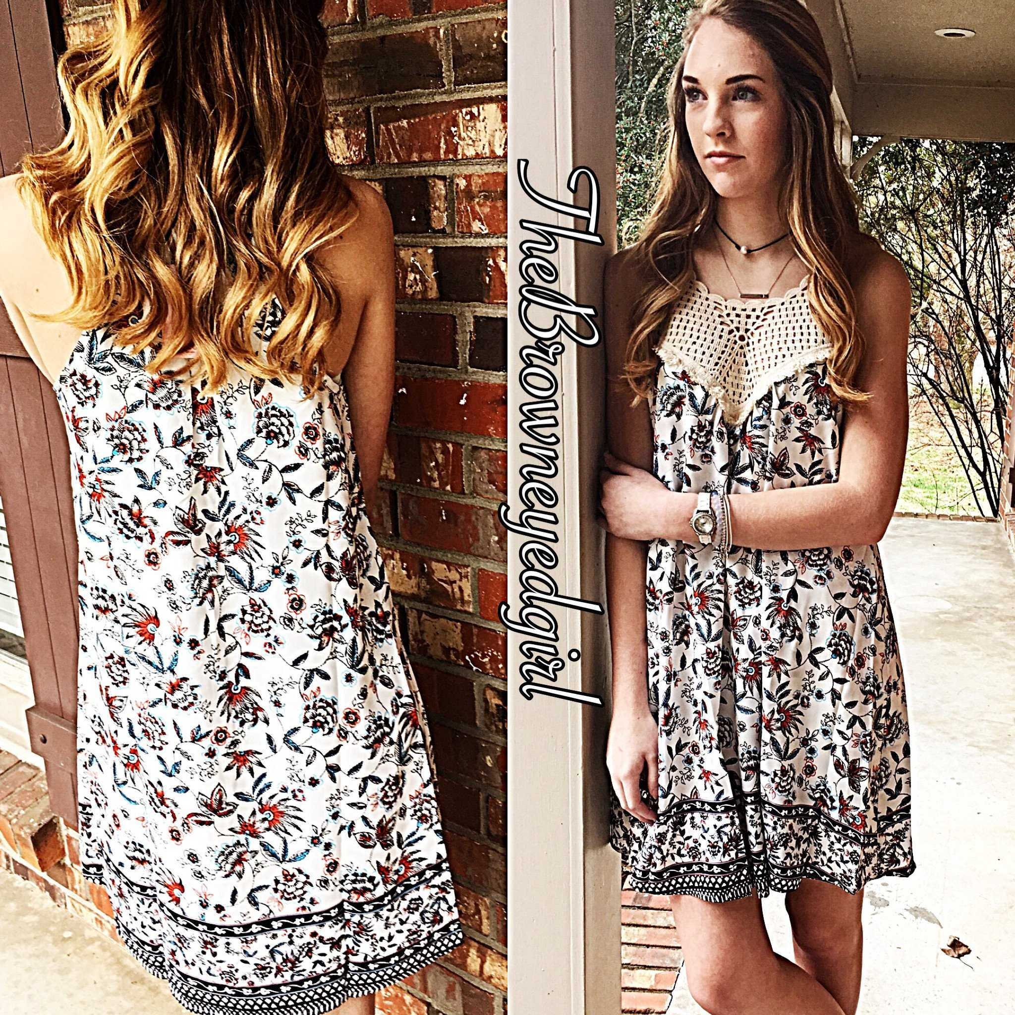 Spring Wild Floral Rust and Blue Crochet Yolk Dress - TheBrownEyedGirl Boutique