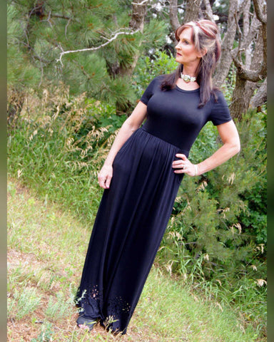 Solid Short Sleeve Black Maxi Dress