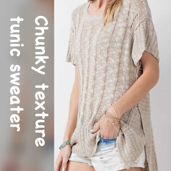 Kathy Soft Cozy Textured Tunic-Sweater
