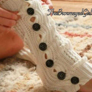White Cozy Crochet Leg Warmers Black Button Accents