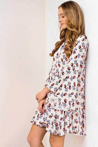 Kori Miranda Floral Bell Sleeve Shift Dress With Red And Blue Roses Perfect For Spring Dressy Casual
