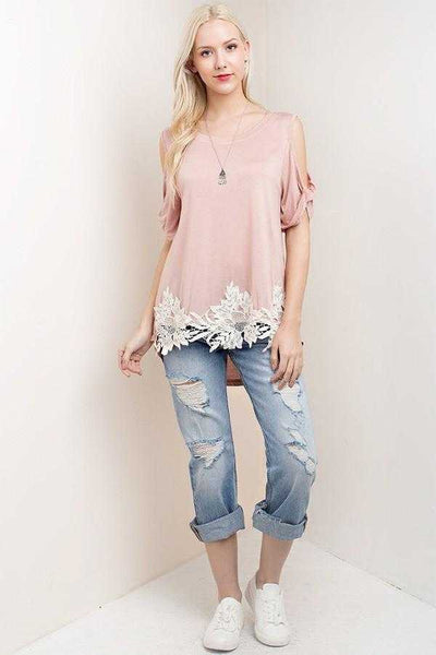 Blush Cold shoulder Tunic with Bold Vintage Lace Trim
