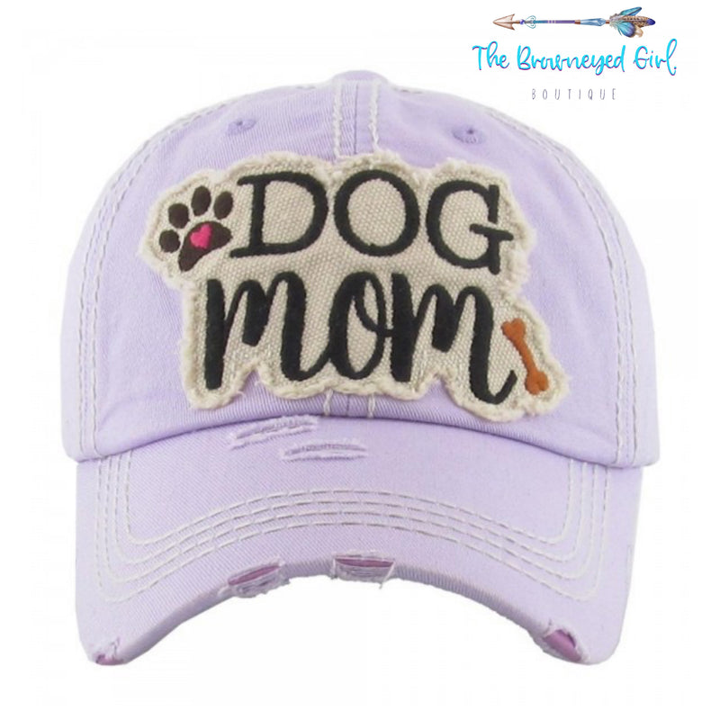 Dog Mom Distressed  BaseBall Hat Lavender/Camo