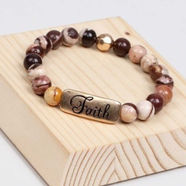 Natural stone Faith inspiration stretch  stackable bracelet multi color brown