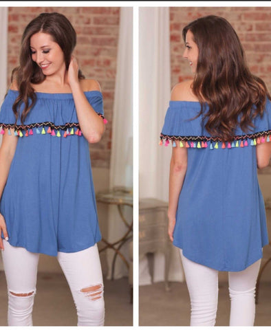 Solid Blue Off The Shoulder Tassel Tunic Summer or Fall