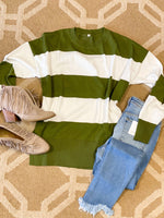 On The Go GreenAnd White Stripe Sweater
