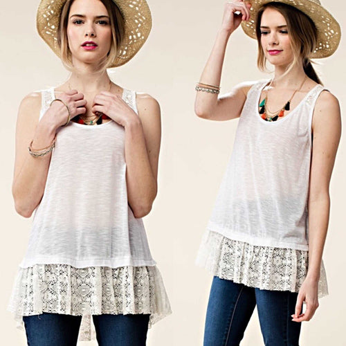 Kori America Off White Lace Ruffled Lace Tank Top-Extender - TheBrownEyedGirl Boutique