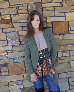Olive Popcorn Cardigan Side Pockets Cute And Casual