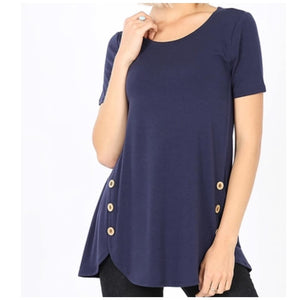 Basic Blue Three Button Top - TheBrownEyedGirl Boutique