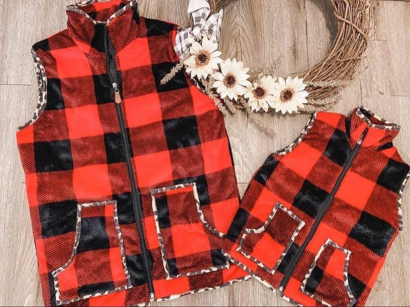 Close To My Heart Buffalo Plaid Leopard Pocket Vest