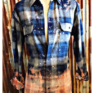 Hand Distressed Button Down Flannels Whisky Wrangler - TheBrownEyedGirl Boutique