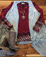 South Western Tribal Print Accented Burgundy Top - TheBrownEyedGirl Boutique