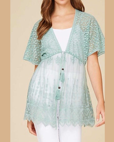 The Perfect Layering Piece Sage Lace Cardigan With Front Tie Closure