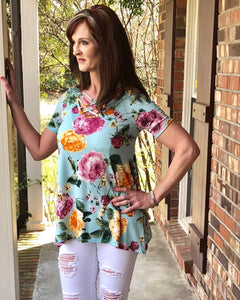 Its All About You Floral Criss Cross Top - TheBrownEyedGirl Boutique