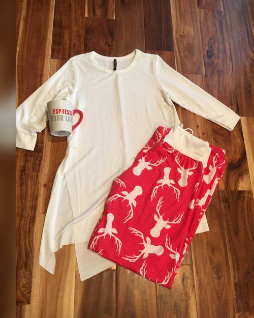 Red Deer Wide Legged Lounge /Yoga Pants - TheBrownEyedGirl Boutique