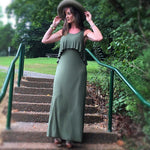 Caitlin Mocha / Olive Sleeveless Ruffle Maxi Dress - TheBrownEyedGirl Boutique
