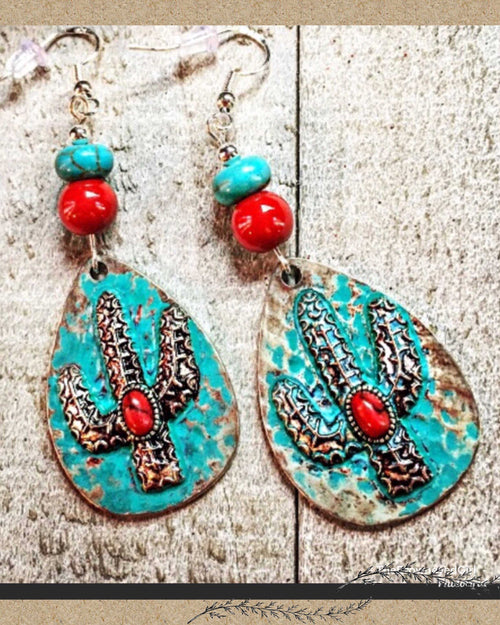 Copy of Southwestern Turquoise Cactus Earrings - TheBrownEyedGirl Boutique