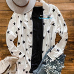 White Star Cardigan with black bold stars. French Terry Cloth Ultra Cuddly