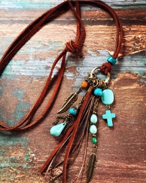 Long Boho Turquoise Tassel Necklace Hand Crafted - TheBrownEyedGirl Boutique