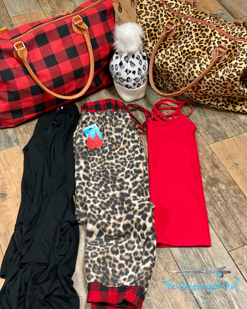 Let's Get Wild Leopard And Buffalo Plaid Fleece Joggers