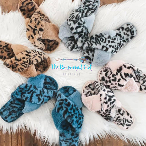 Fluffy Leopard Criss Cross Leopard Peep Toe Slippers