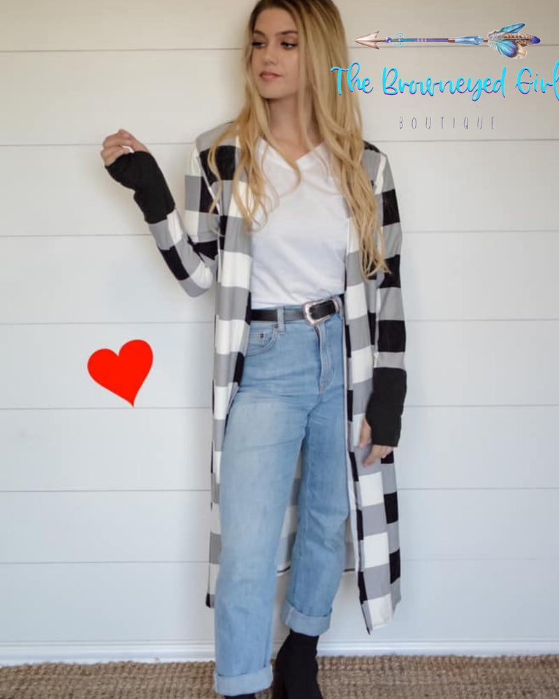 Buffalo Plaid Valentine Cardigan Long - TheBrownEyedGirl Boutique