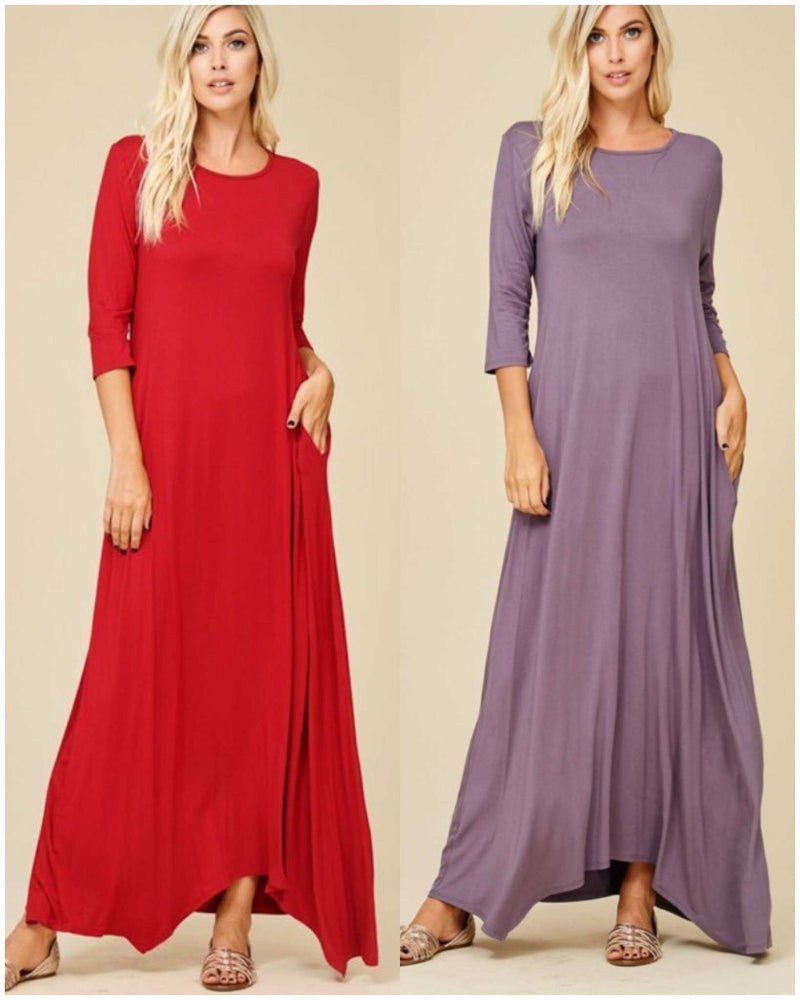 Let's Take A Walk Solid Maxi Side Pockets Maxi - TheBrownEyedGirl Boutique