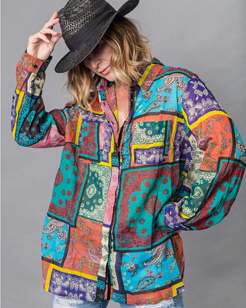 Kinsley Multi Color Boho Mixed Print Blouse - TheBrownEyedGirl Boutique