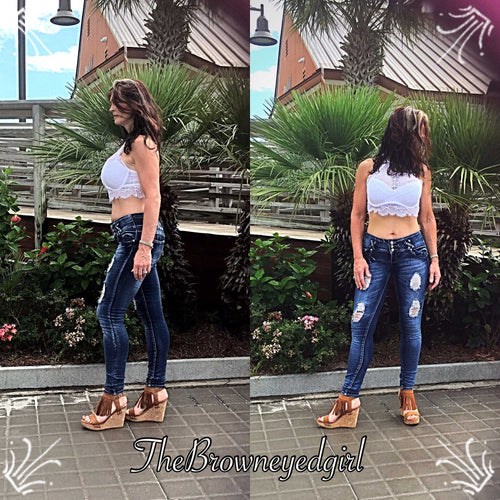 Distressed Blue Denim  Skinny Jeans - TheBrownEyedGirl Boutique