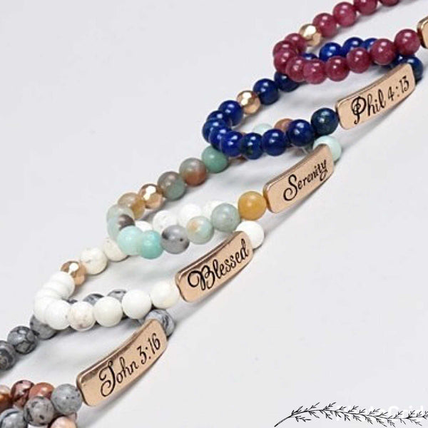 Natural stone religious stretch bracelets mothers day, graduation gifts