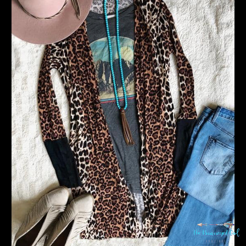 Cheetah Wild Side Cardigan With Thumbholes - TheBrownEyedGirl Boutique