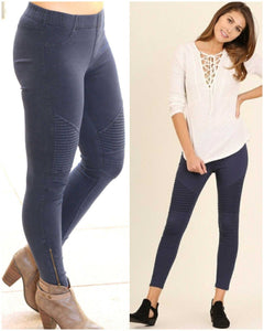 Moto Jeggings 3 colors - TheBrownEyedGirl Boutique