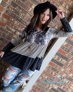 Boho Me Baby Color Block Snake Skin Babydoll Tunic. Material IS Soft And Stretchy