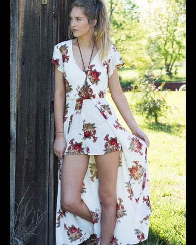 Ivory Rose Maxi Romper Stunning V-neck Line  Beautiful Back
