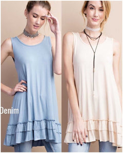 Soft Double Ruffle tank Tunic great for layering Easel