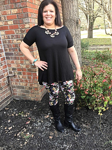 Solid Black Jersey Knit Swing Plus size Tunic - TheBrownEyedGirl Boutique