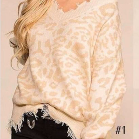 Edgy Cream Leopard Distressed Sweater