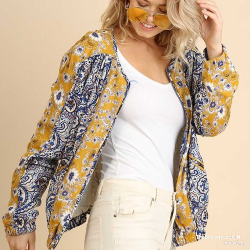 Priscilla Paisley Zip Up Bomber Jacket - TheBrownEyedGirl Boutique